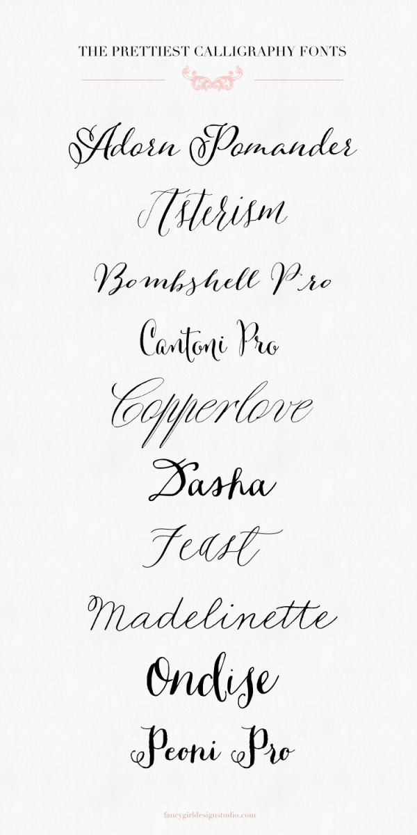pretty calligraphy fonts top picks by Fancy Girl Design Studio