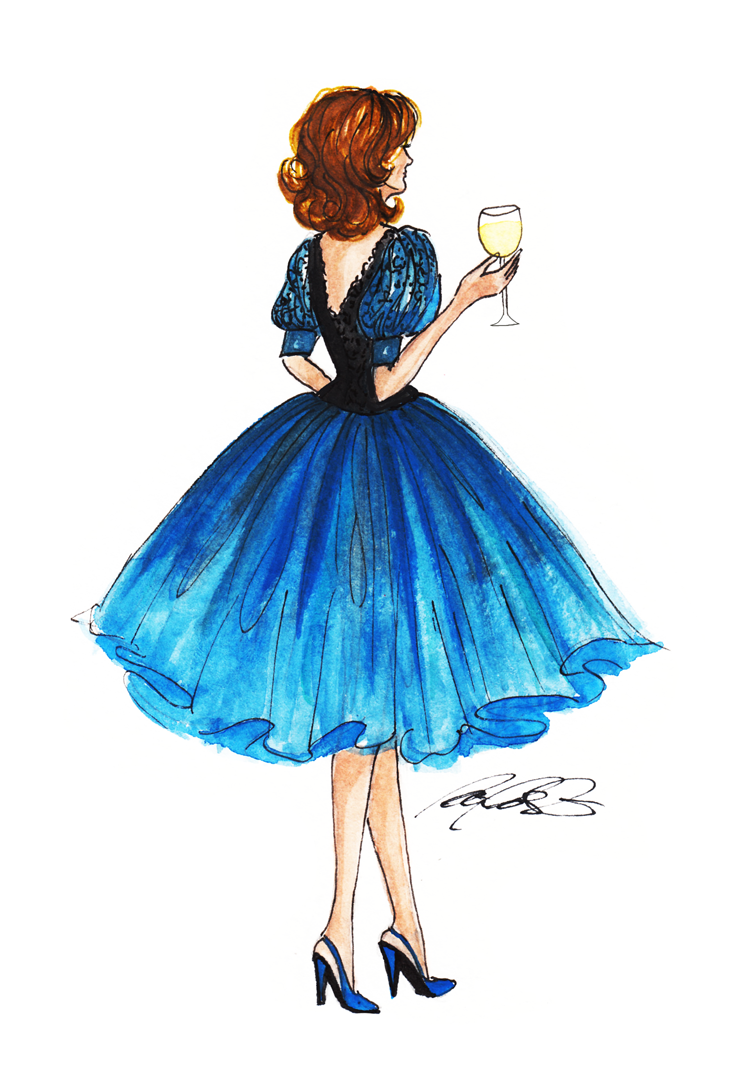 1990's royal blue evening dress. fashion illustration by patricia alix