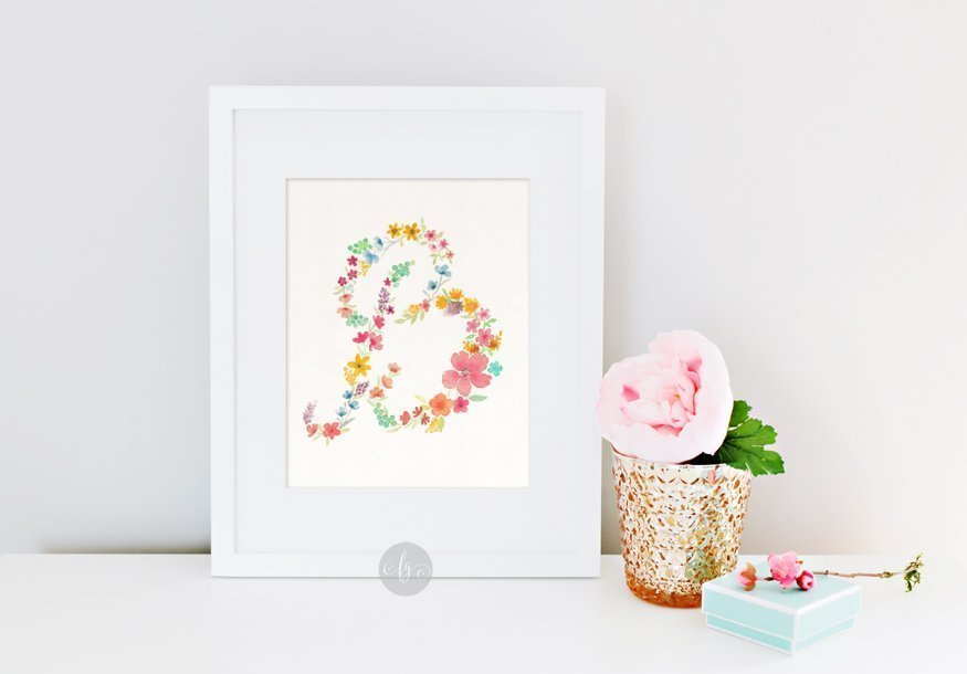 B, floral alphabet by Fancy Girl Design Studio