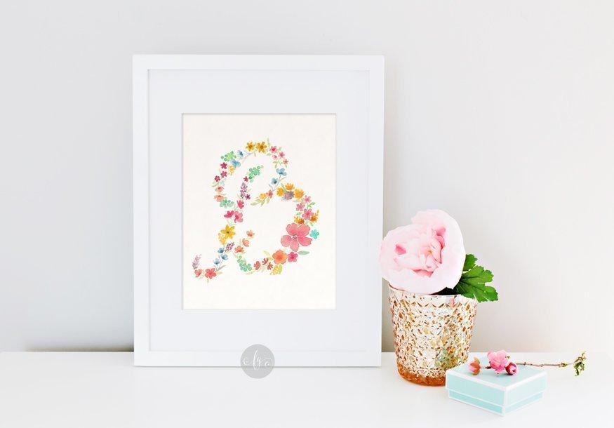 B, floral alphabet by Fancy Girl Design Studio