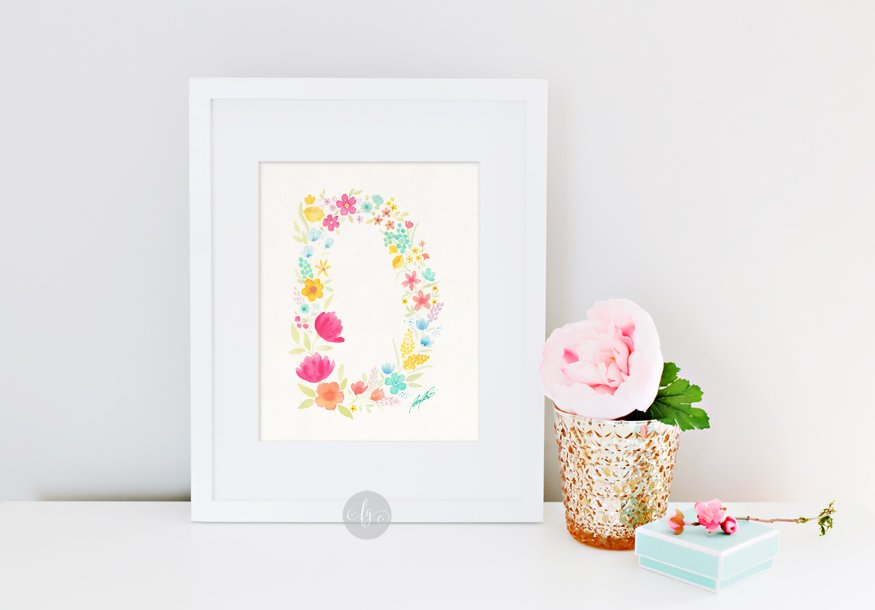 D, floral alphabet by Fancy Girl Design Studio