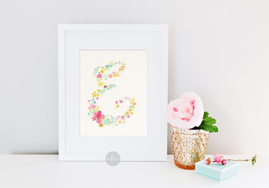 E, floral alphabet by Fancy Girl Design Studio