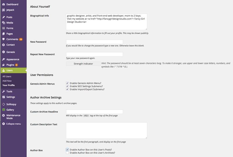user profile wordpress
