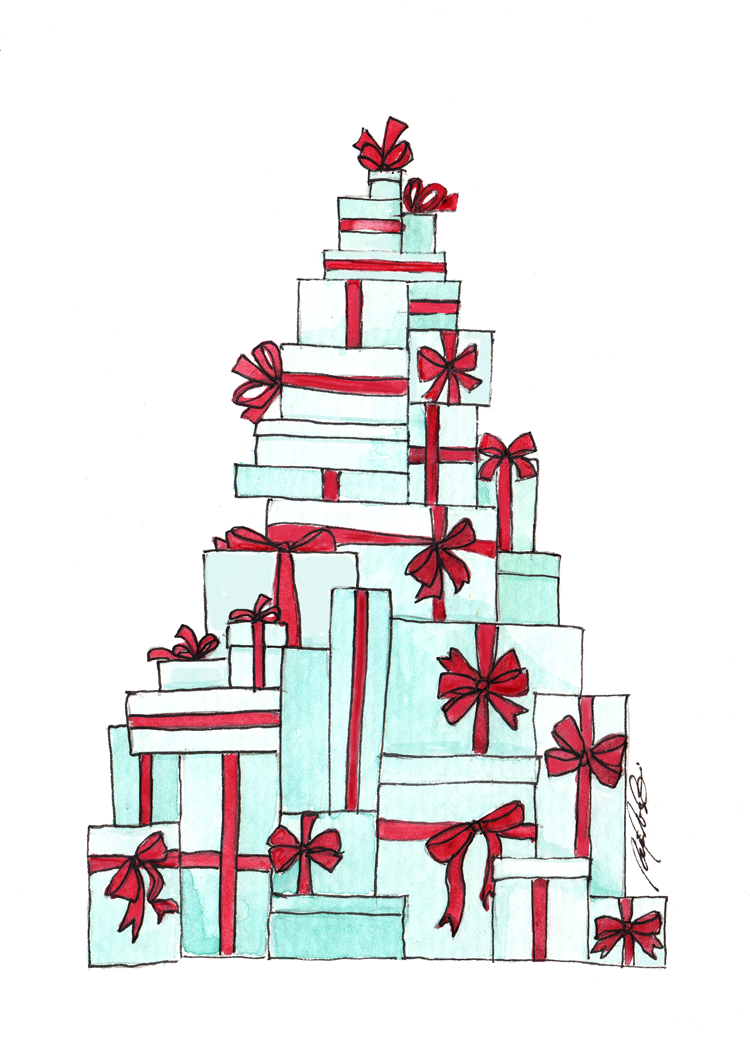 tree of gift boxes illustration by fancy girl designs