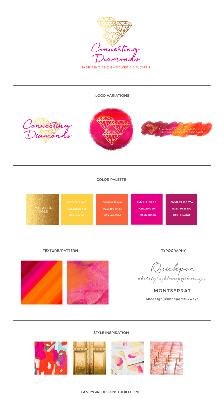 brand identity guide for connecting diamonds