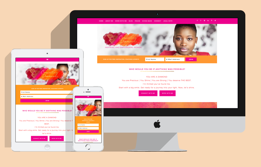 responsive web design for female business coach