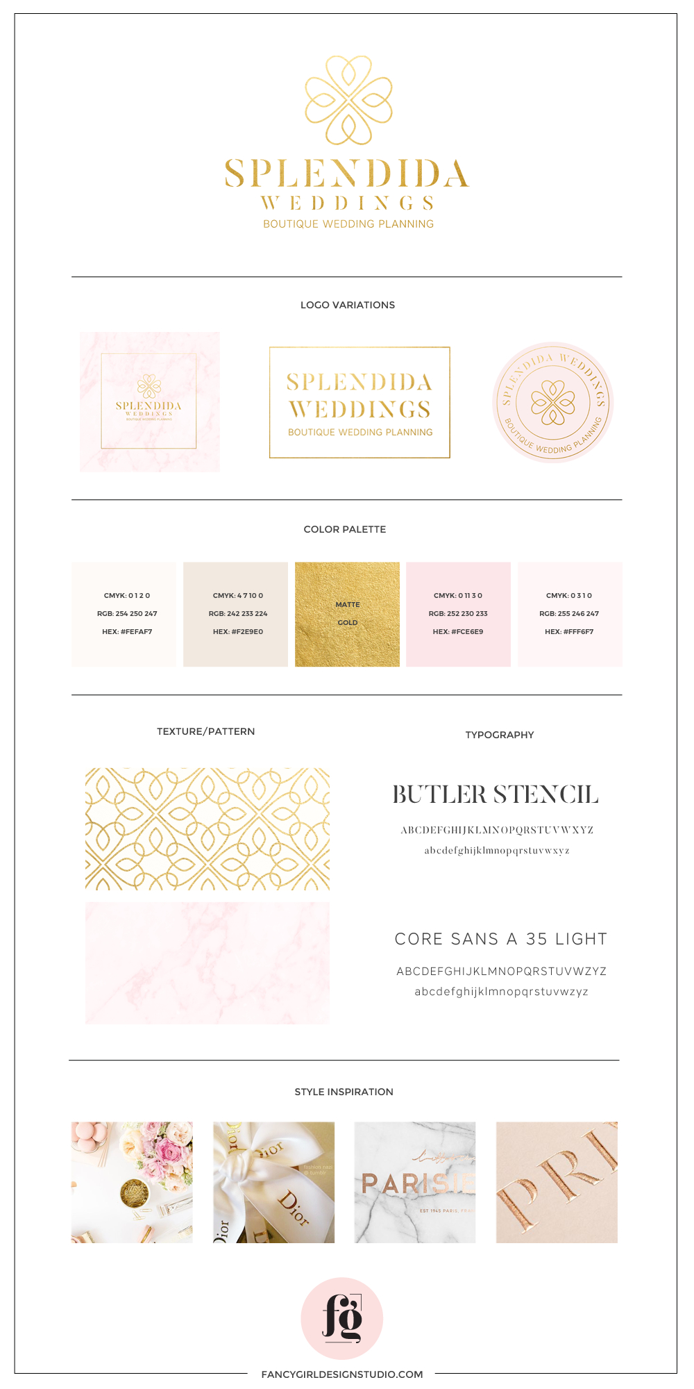 SPLENDIDA WEDDINGS BRAND BOARD