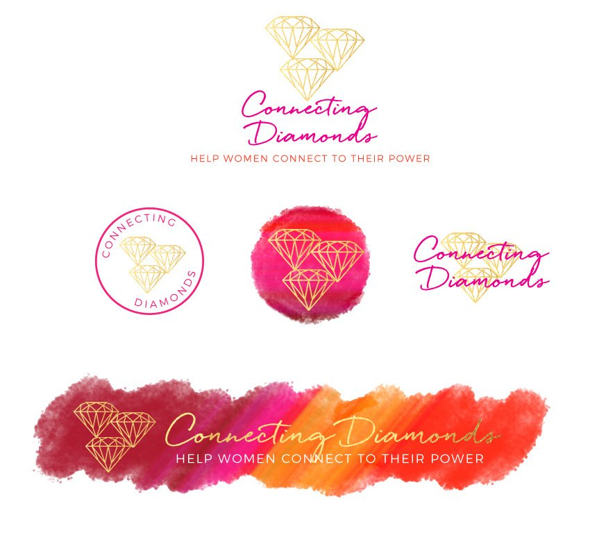 visual brand identity design for connecting diamonds, fancy girl design studio