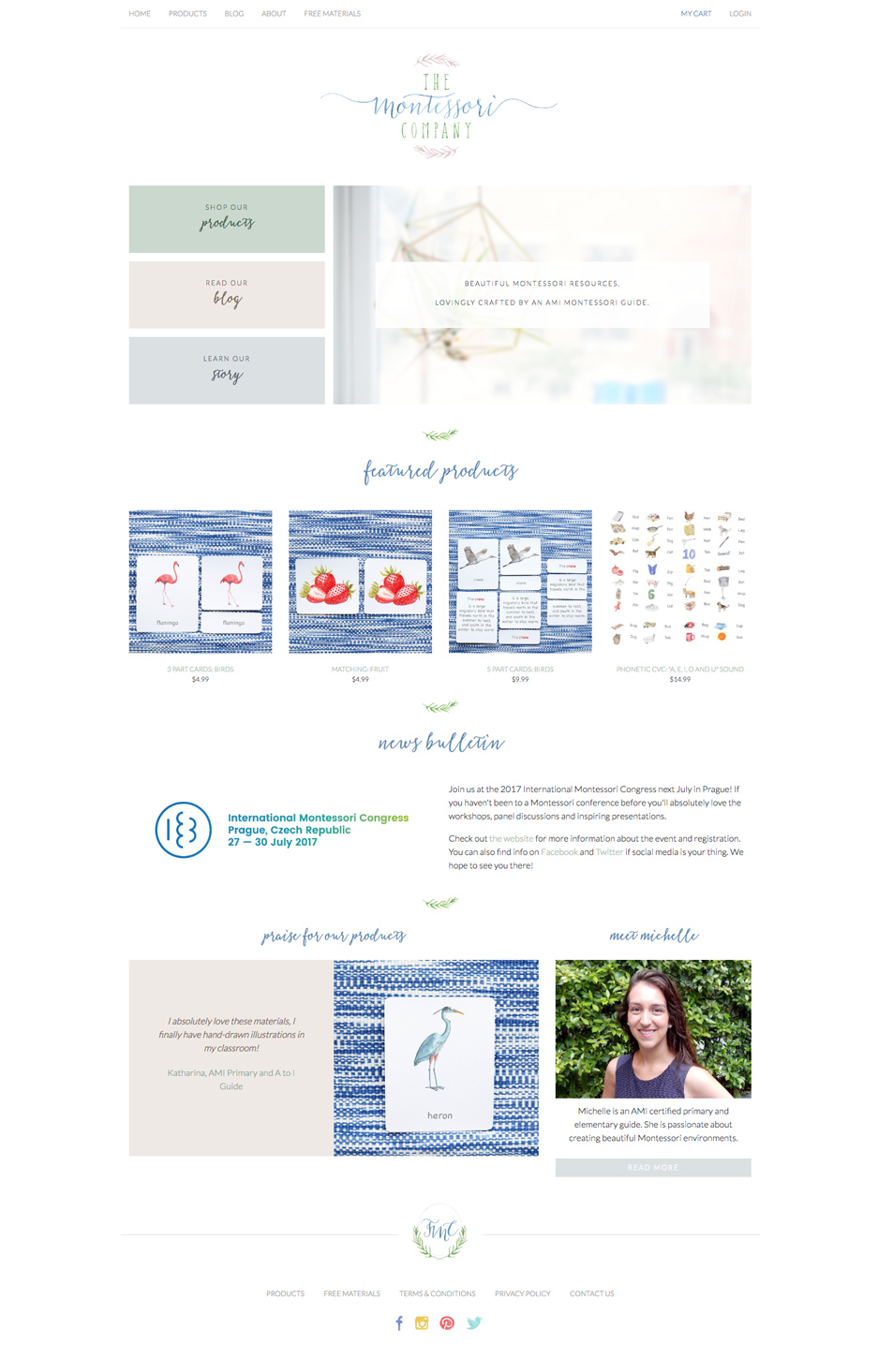 The Montessori Company Website Homepage