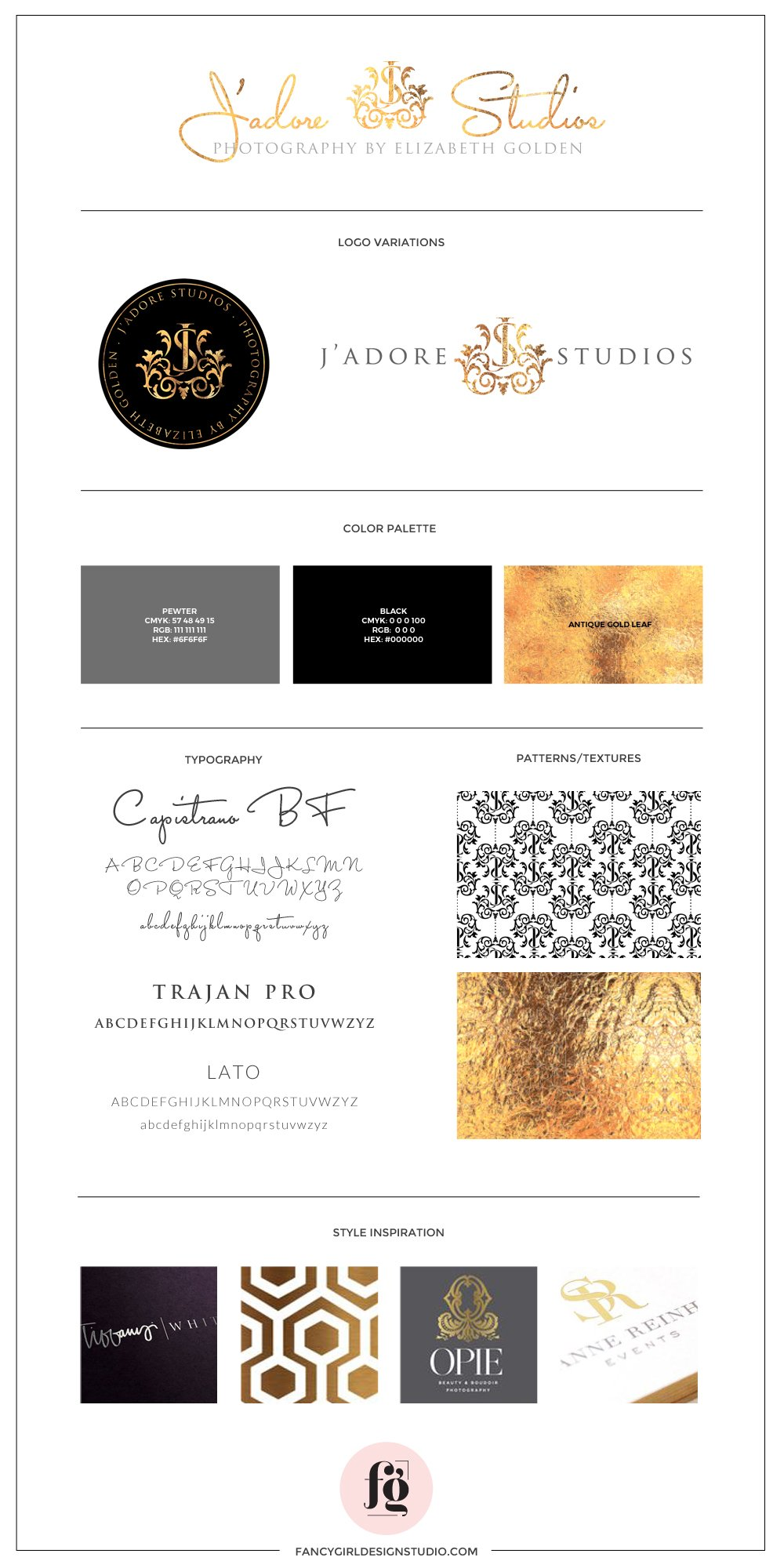 Brand board for J'adore Studios Photography by Fancy Girl Design Studio