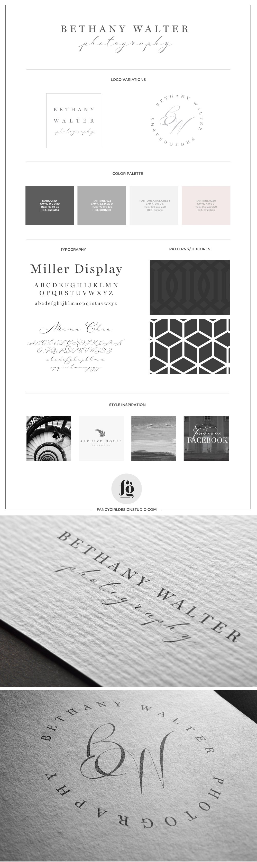 Brand Board for Bethany Walter Photography, by Fancy Girl Design Studio