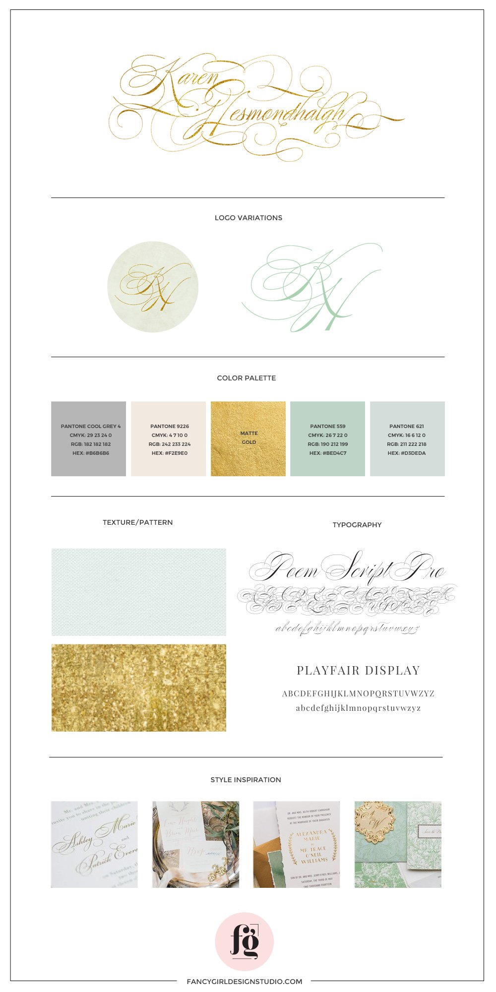 Brand guide for KAREN HESMONDHALGH by Fancy Girl Design Studio