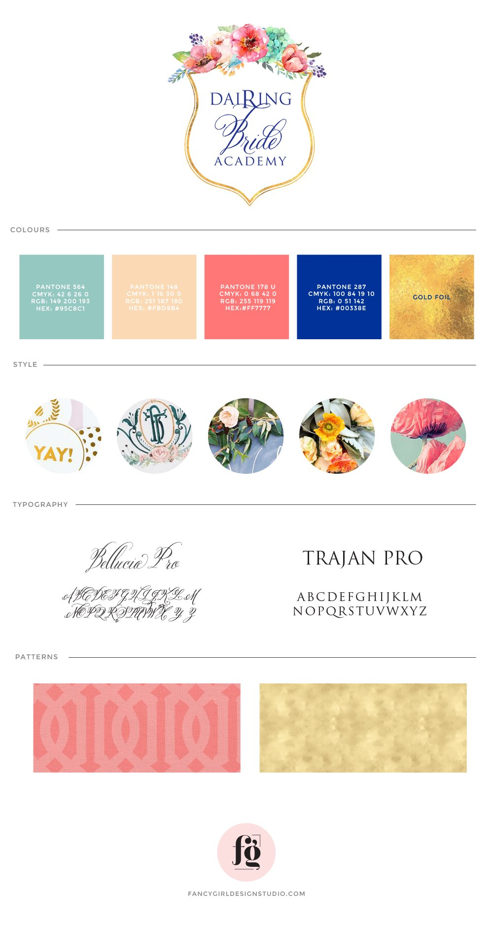 brand board for Dairing  Bride Academy by Fancy Girl Design Studio