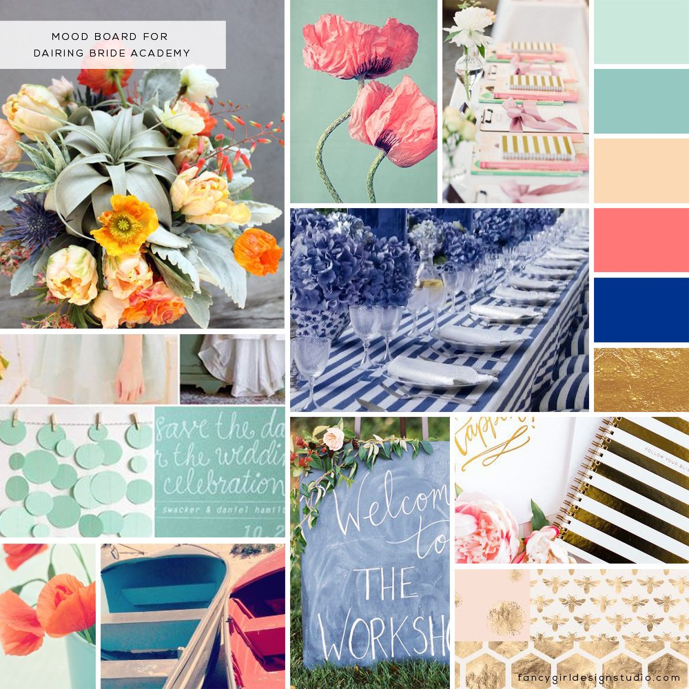 mood board for Dairing Bride Academy