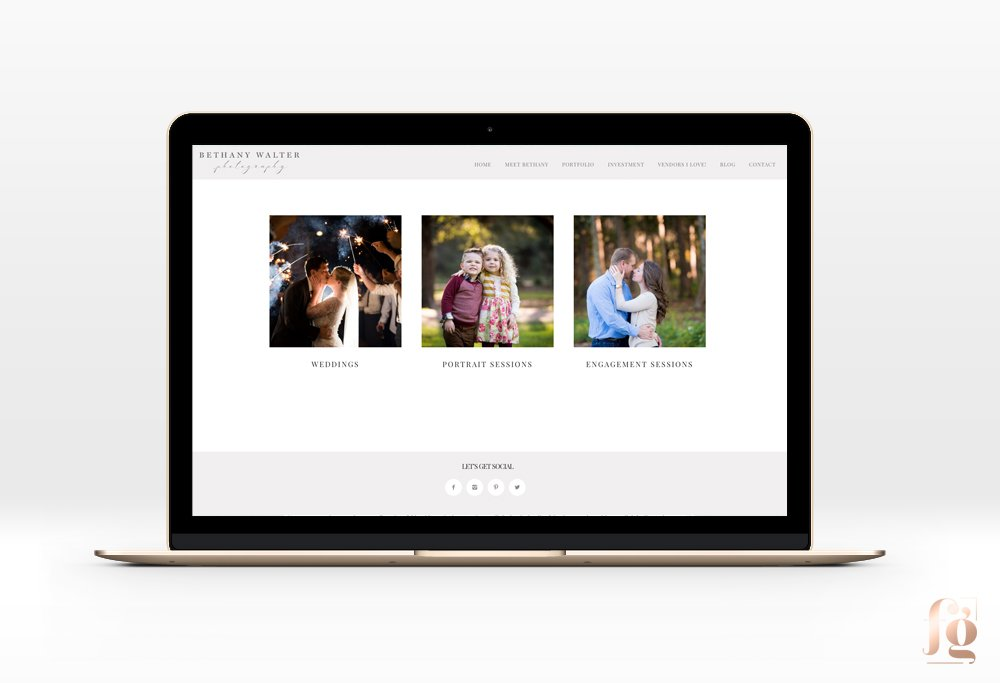 Portfolio Page for Bethany Walter Photography, by Fancy Girl Design Studio