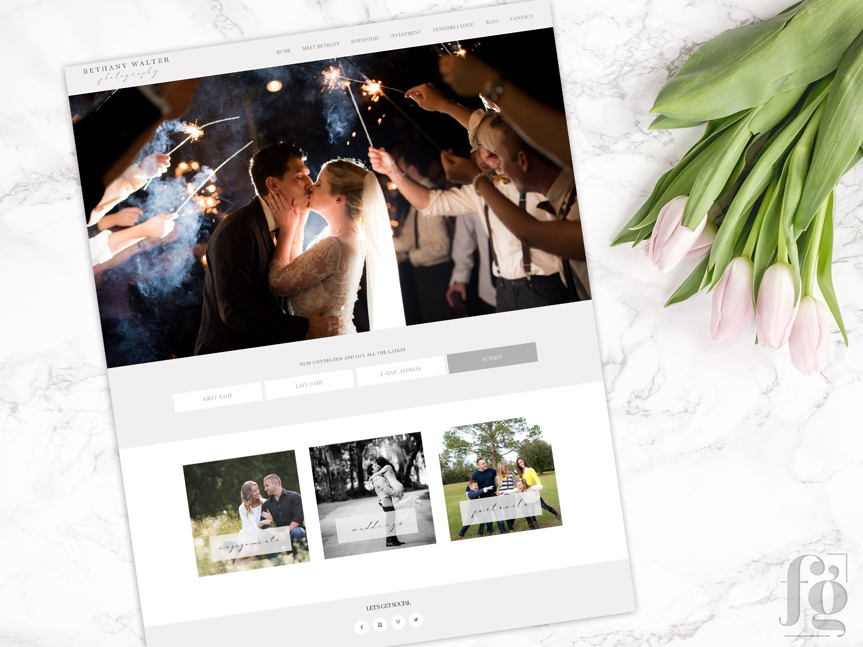 Website Homepage for Bethany Walter Photography, by Fancy Girl Design Studio