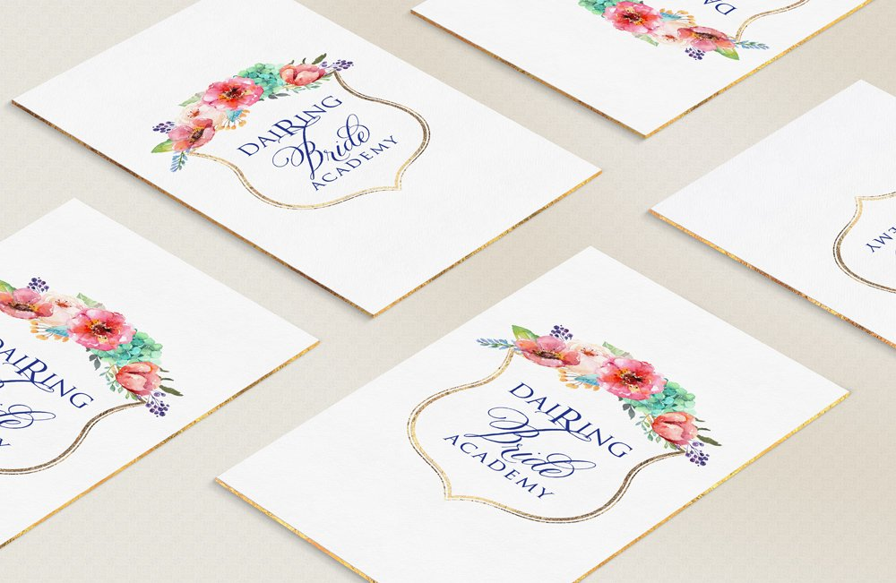 logo design card mockup for Dairing Bride Academy by Fancy Girl Design Studio