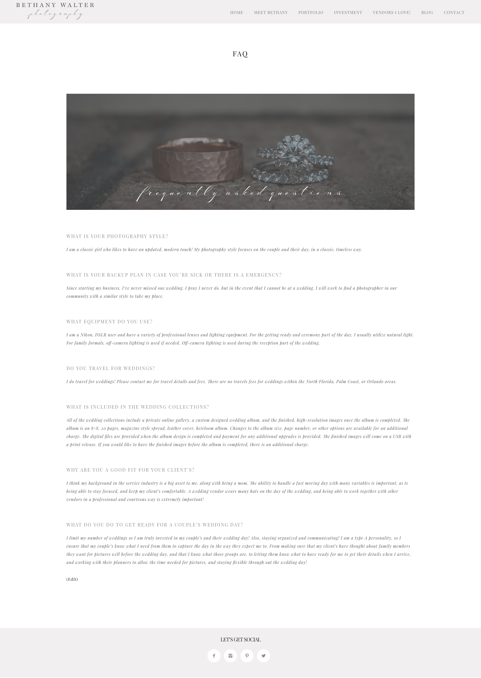 FAQ page for Bethany Walter Photography, by Fancy Girl Design Studio
