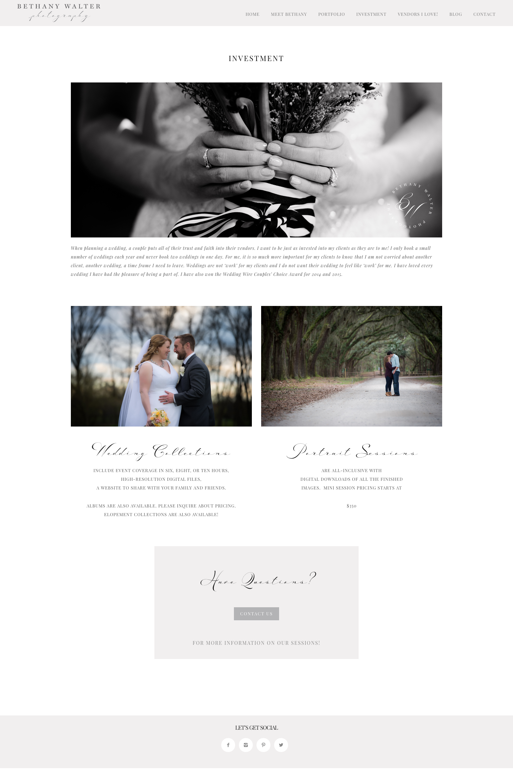 Investment page for Bethany Walter Photography, by Fancy Girl Design Studio