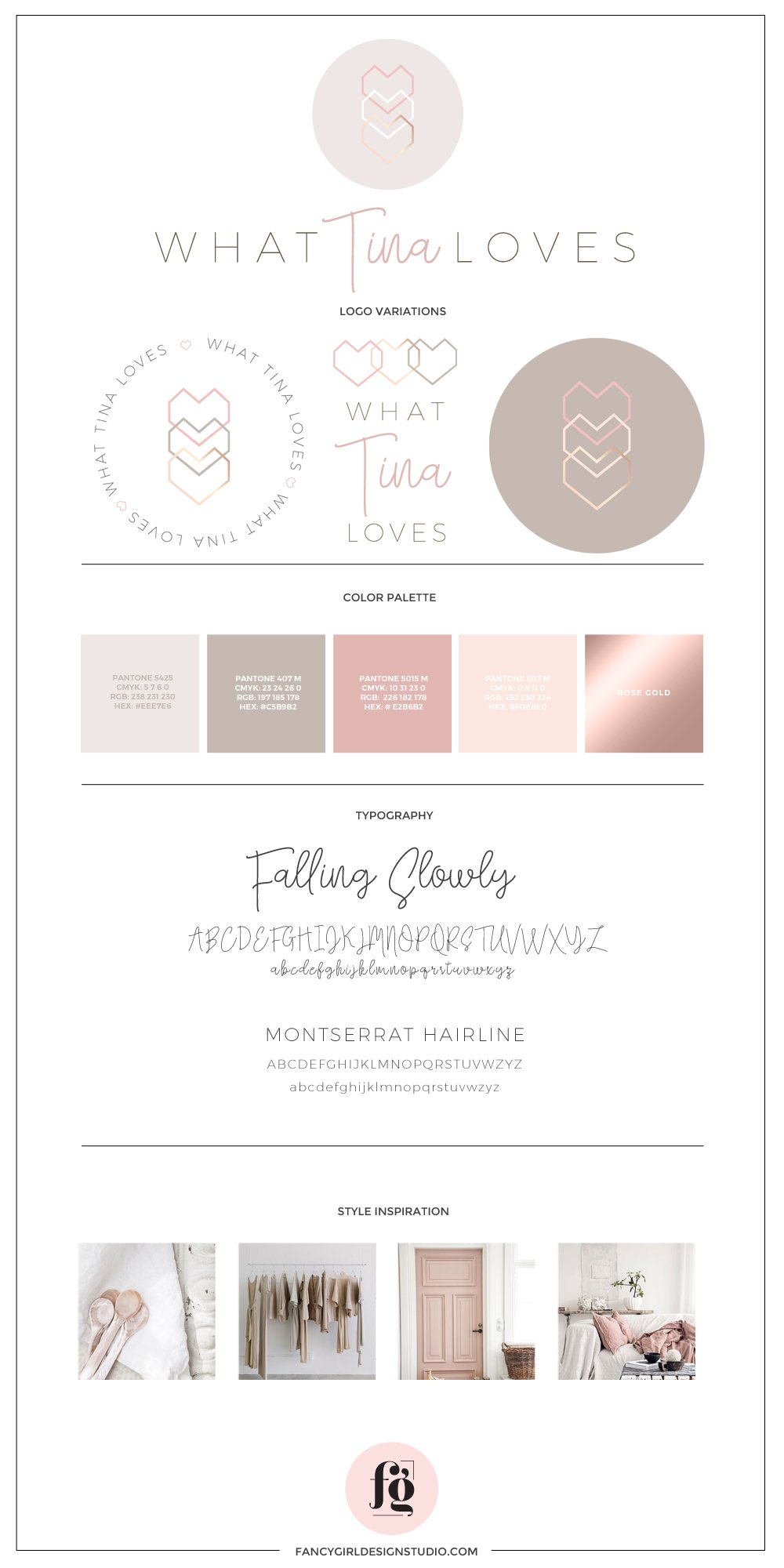 What Tina Loves brand board by Fancy Girl Design Studio