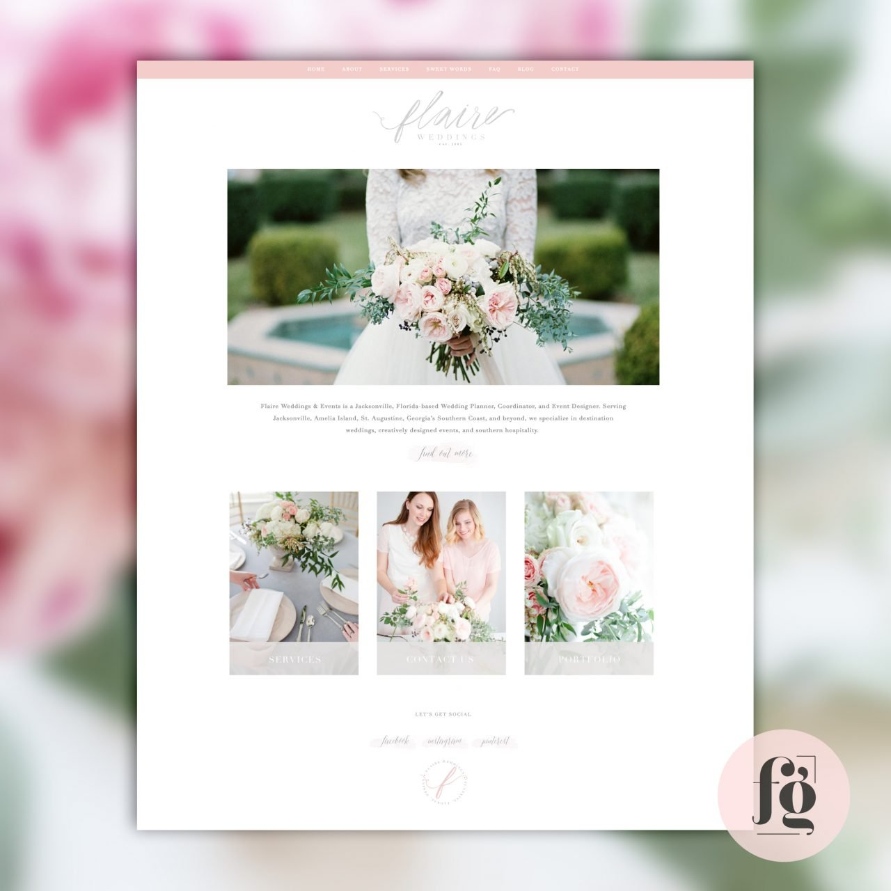 Flaire Weddings Website Homepage