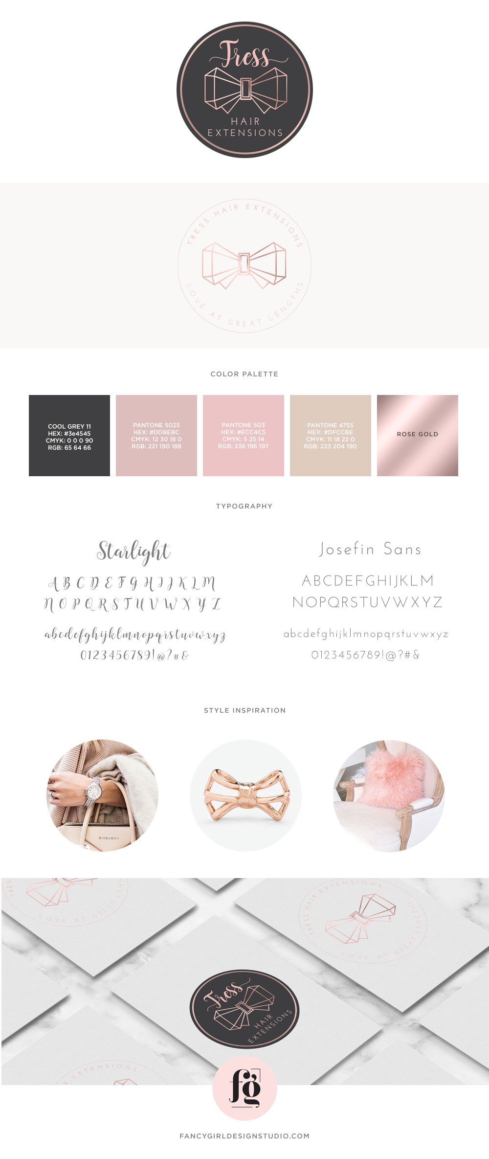 brand board for tress hair extensions by fancy girl design studio