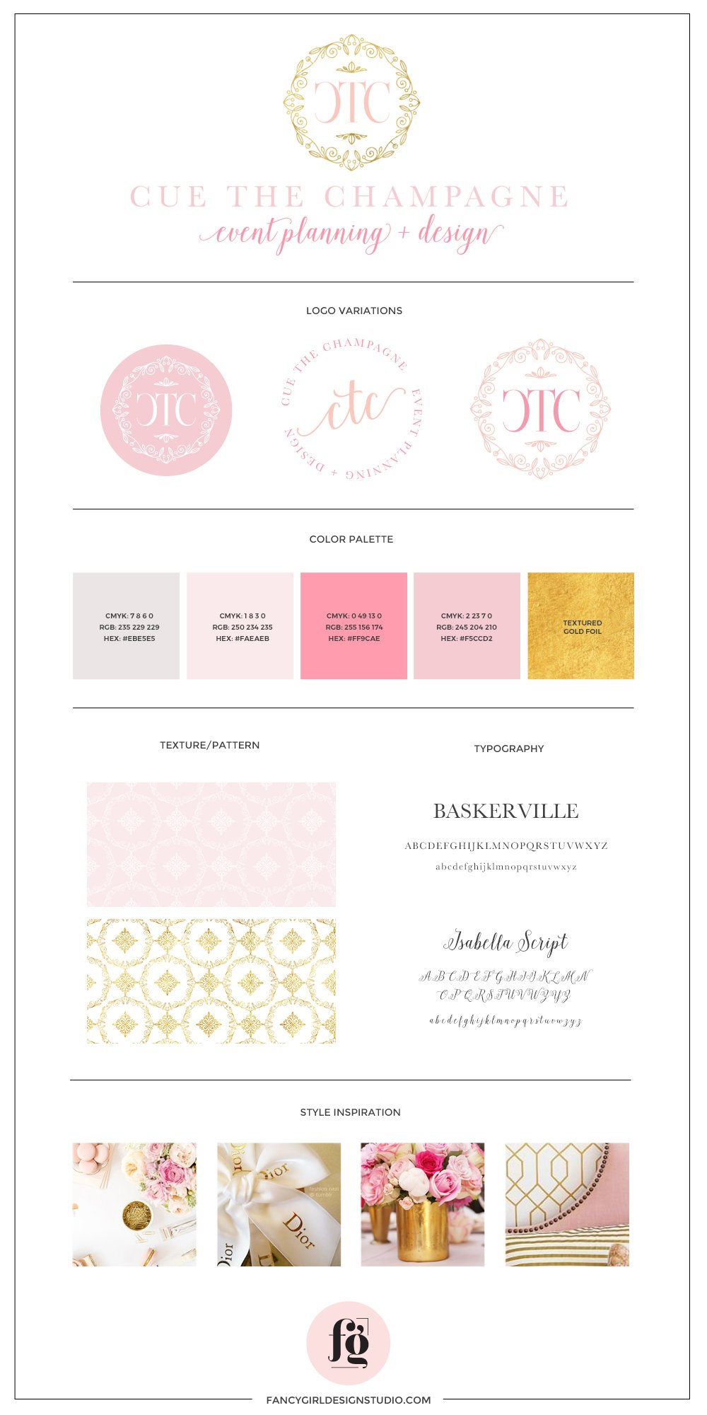 Brand guide for Cue the Champagne, by Fancy Girl Design Studio