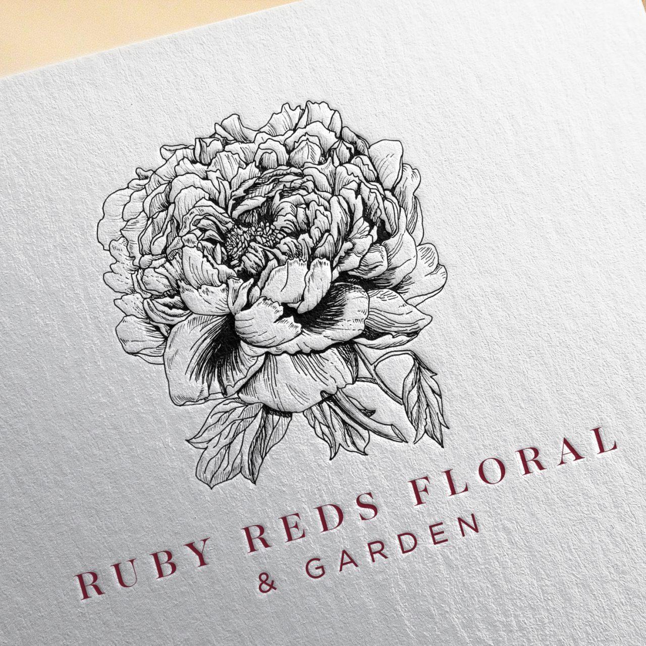 Ruby Reds Floral Logo Letterpress