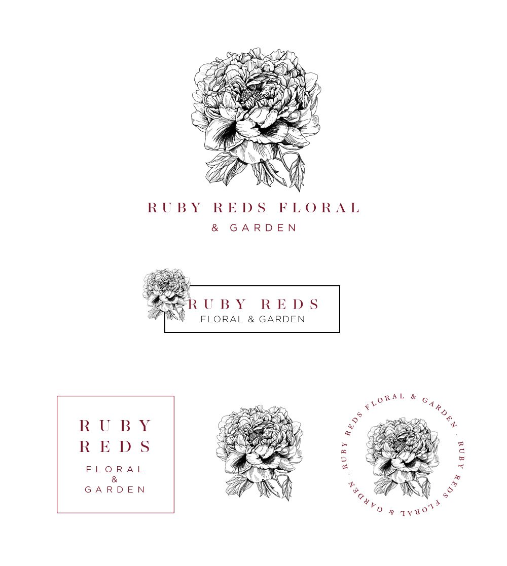 Ruby Reds Floral Logo Set