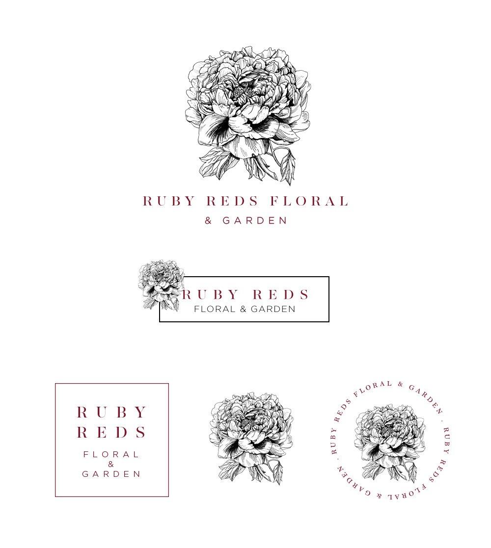 Ruby Reds Floral Logo Set