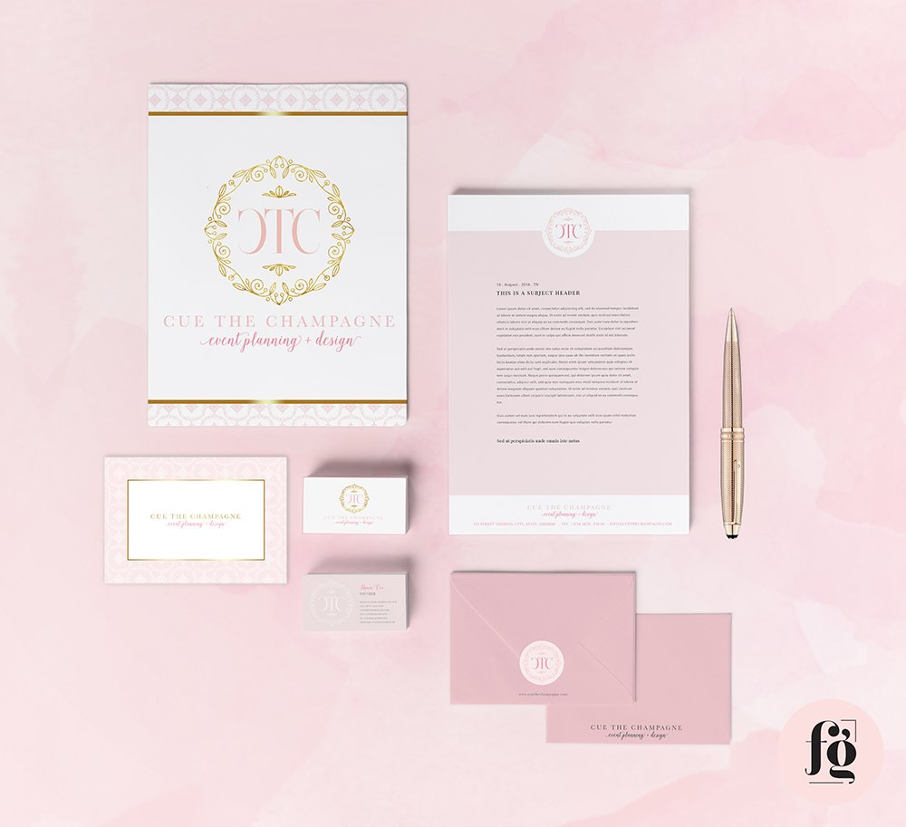 Brand Identity Design and Stationery Suite for Cue the Champagne - by Fancy Girl Design Studio