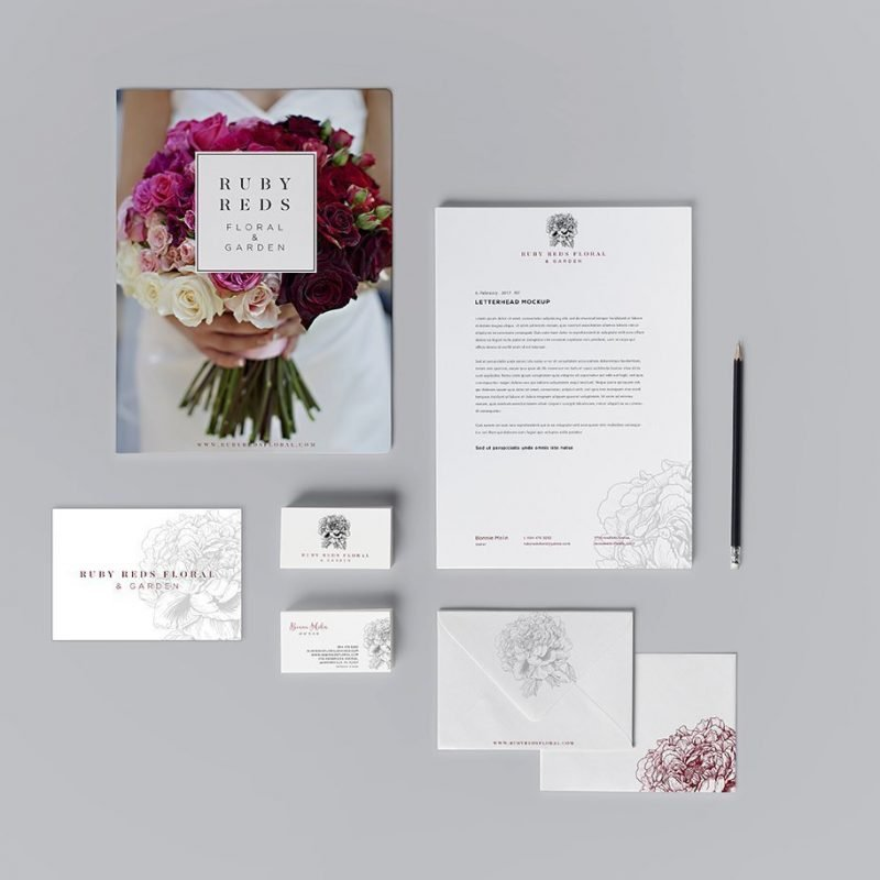 Ruby Reds Floral Stationery Suite