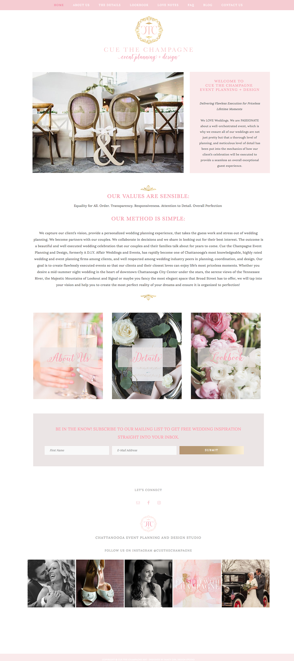 Cue the Champagne Website Homepage by Fancy Girl Design Studio