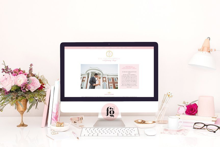 website design for Cue the Champagne