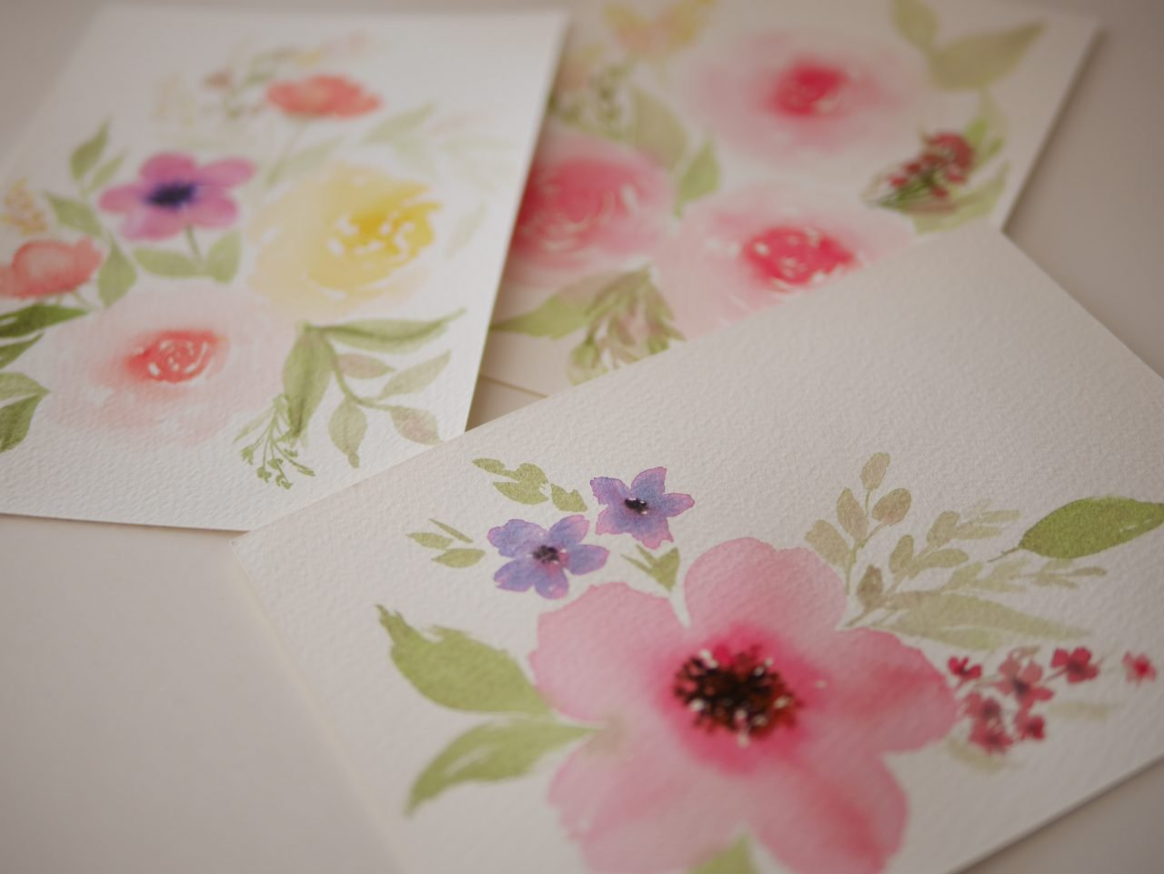 watercolor practice, loose floral posies