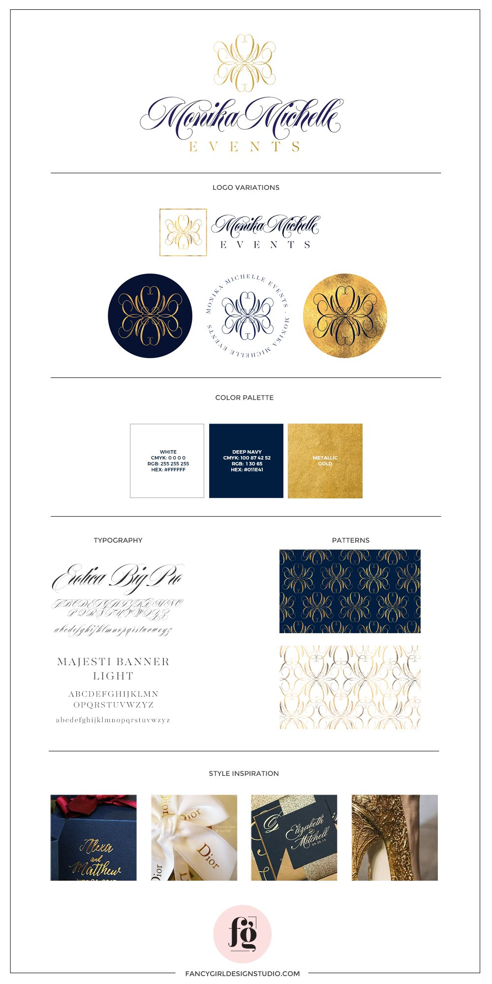 Monika Michelle Events Brand Guide by Fancy Girl Design Studio