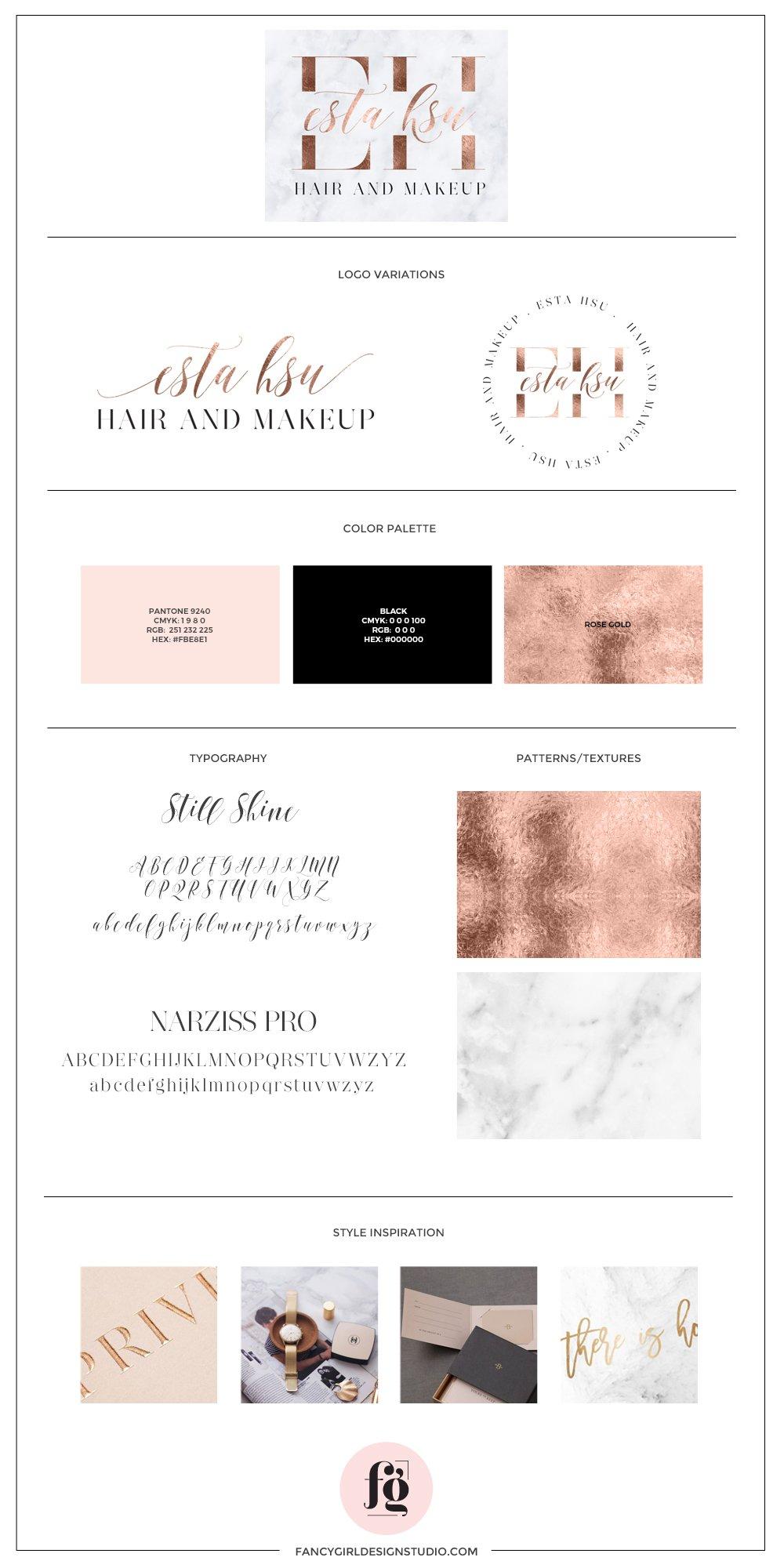 Brand guide for Esta Hsu by Fancy Girl Design Studio