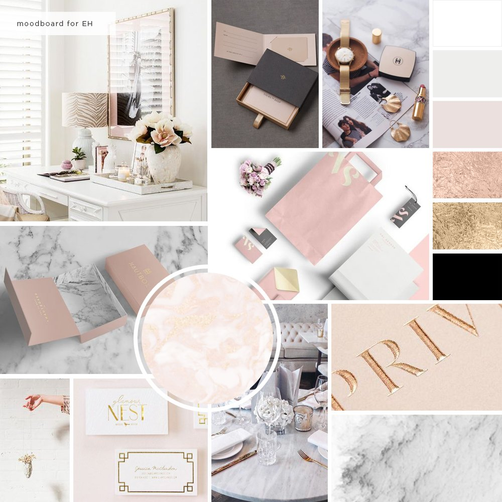 Moodboard and color palette for Esta Hsu by Fancy Girl Design Studio