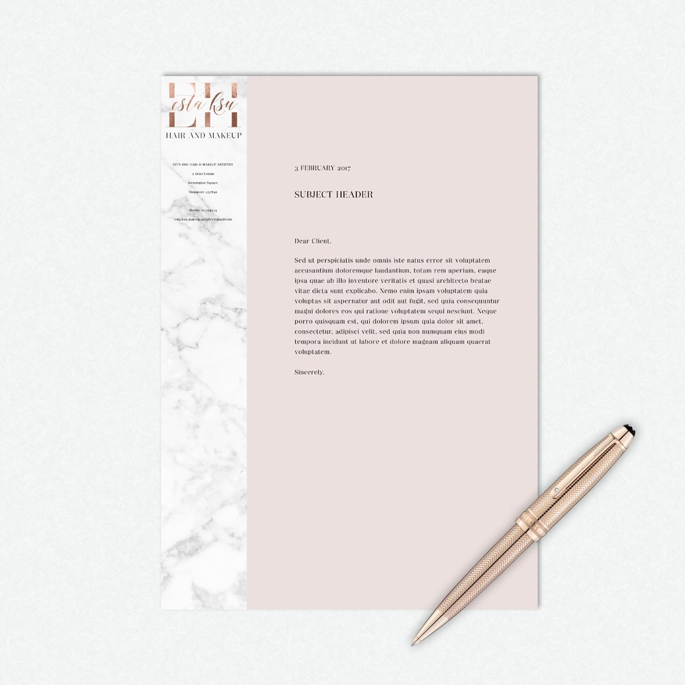 letterhead design for Esta Hsu by Fancy Girl Design Studio
