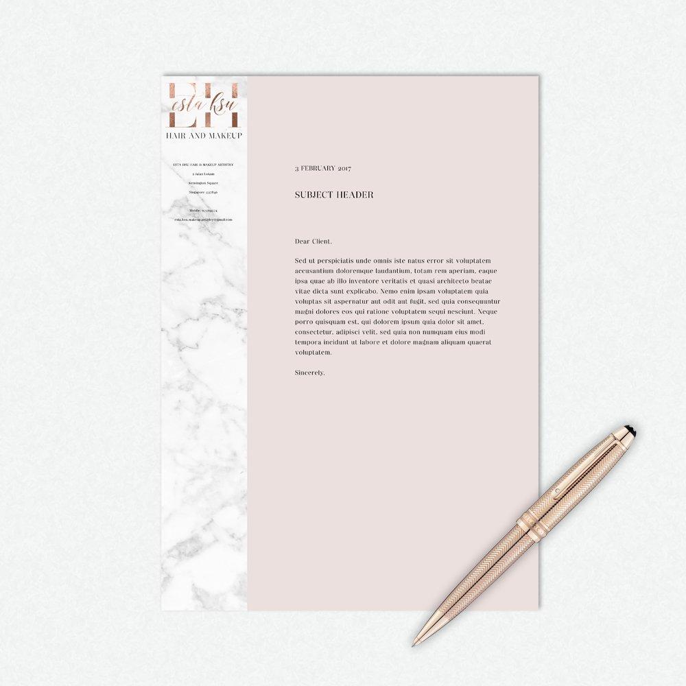 letterhead design for Esta Hsu by Fancy Girl Design Studio