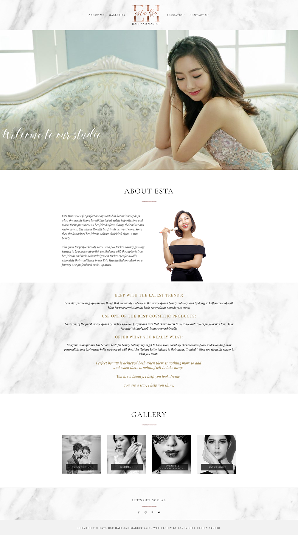 website design for Esta Hsu by Fancy Girl Design Studio