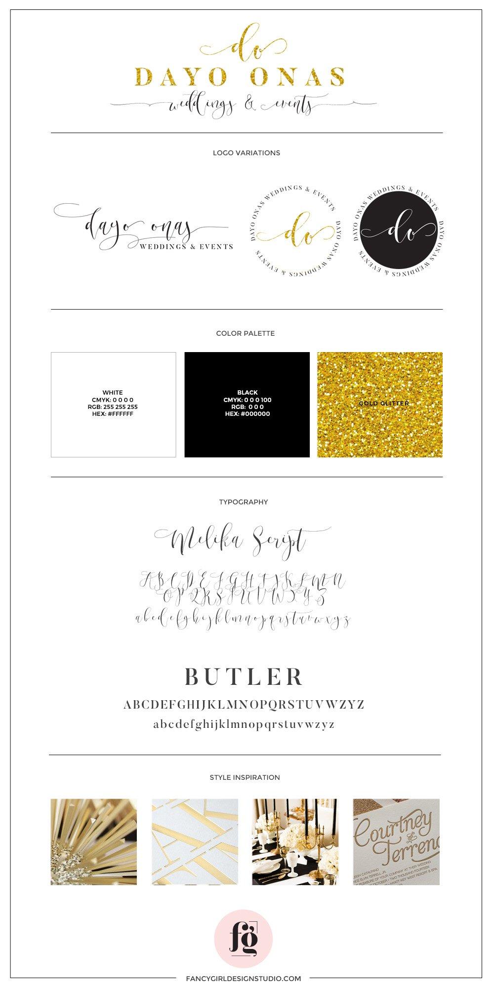 Luxurious logo design for Dayo Onas Weddings & Events by Fancy Girl Design Studio
