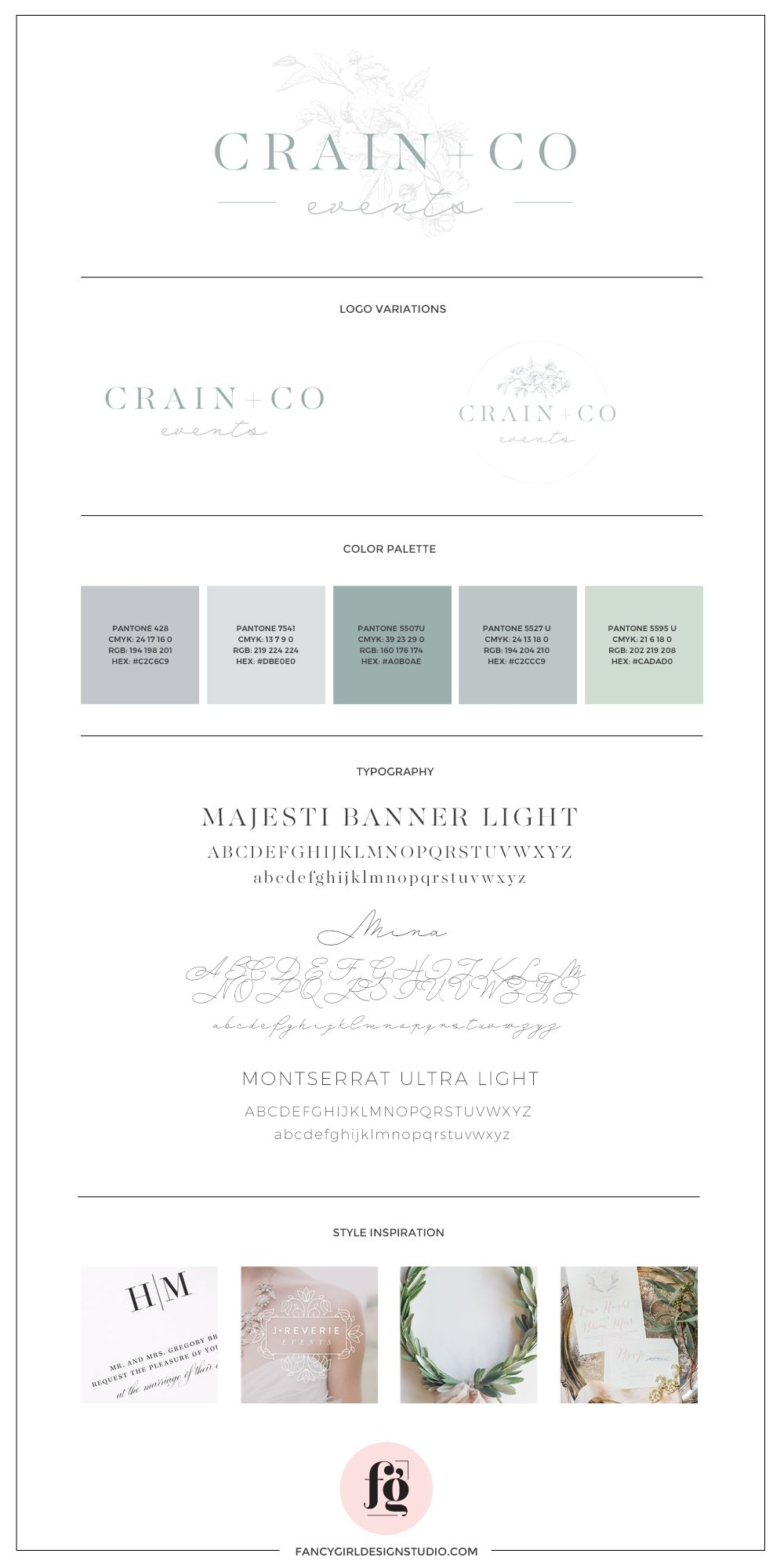 brand guide for Crain + Co Events by Fancy Girl Design Studio