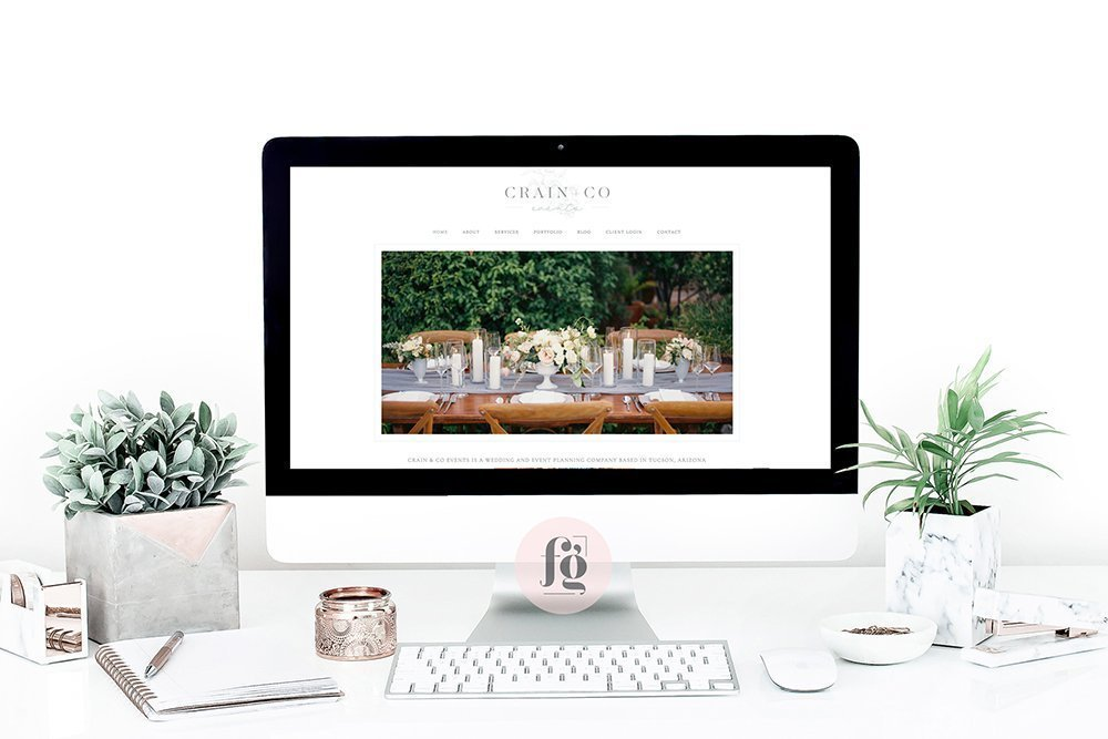 website design for Crain + Co Events by Fancy Girl Design Studio