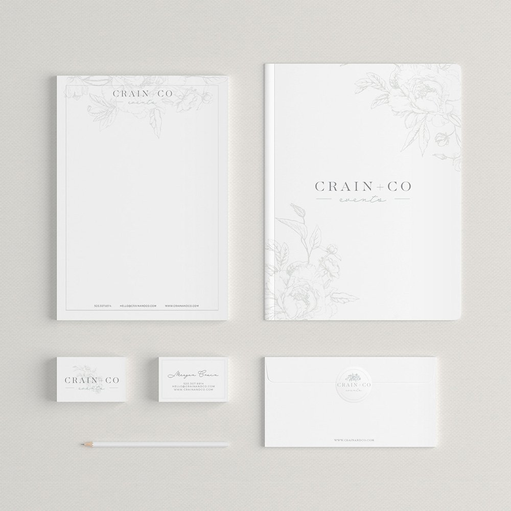stationery suite design for Crain + Co by Fancy Girl Design Studio