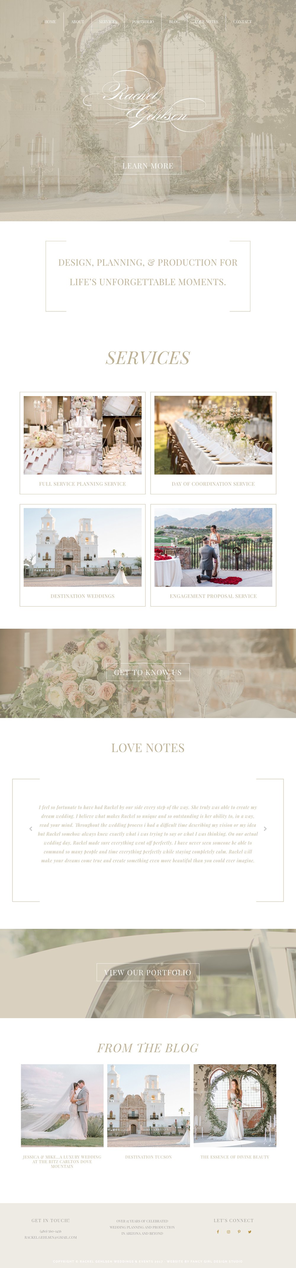 Rackel Gehlsen Weddings Homepage Design by Fancy Girl Design Studio