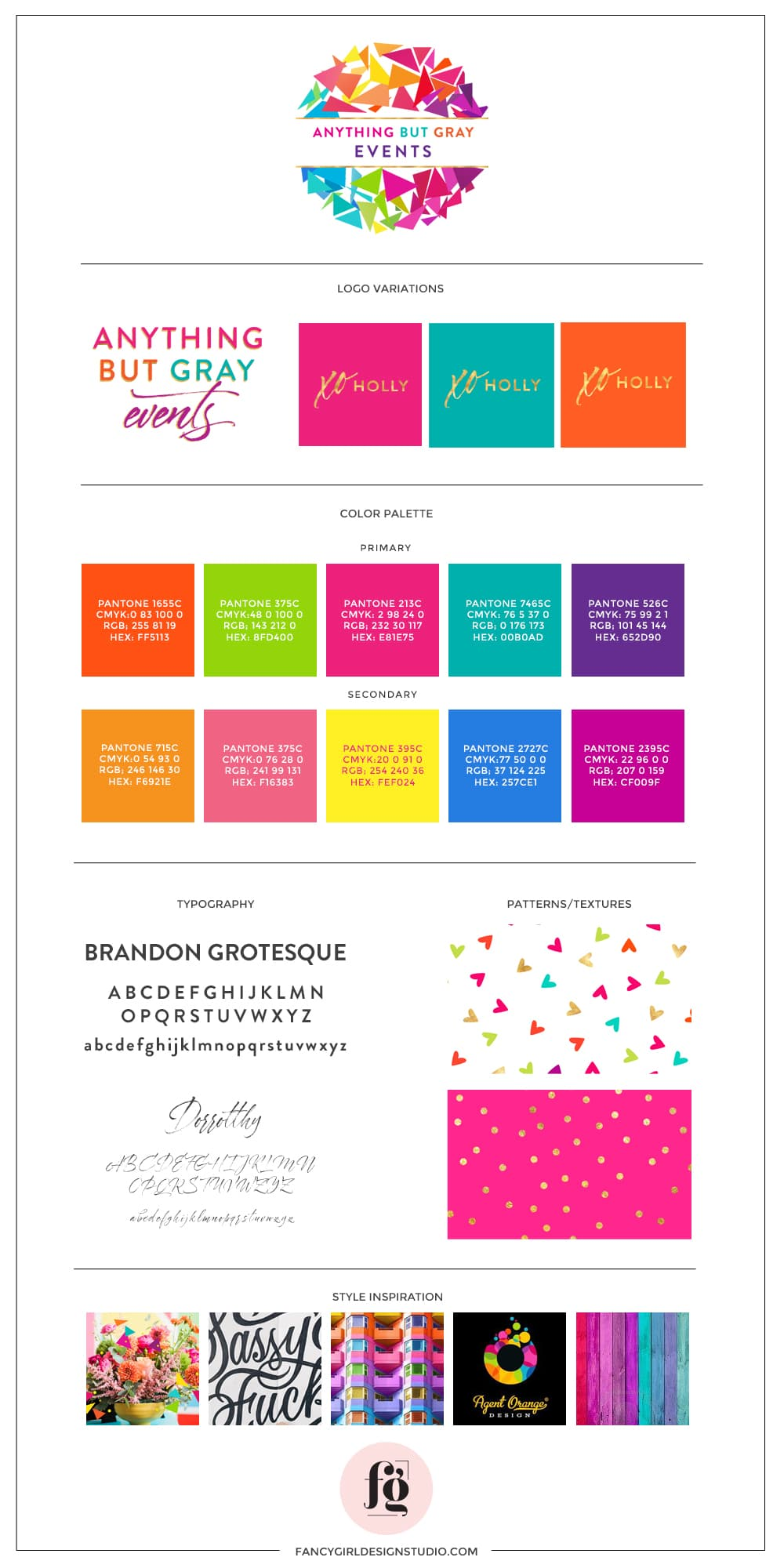brand style guide for anything but gray events by fancy girl design studio