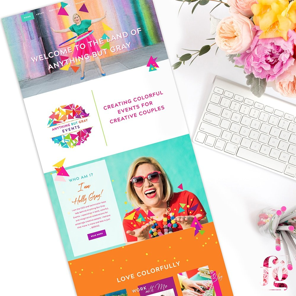 website design for anything but gray events by fancy girl design studio