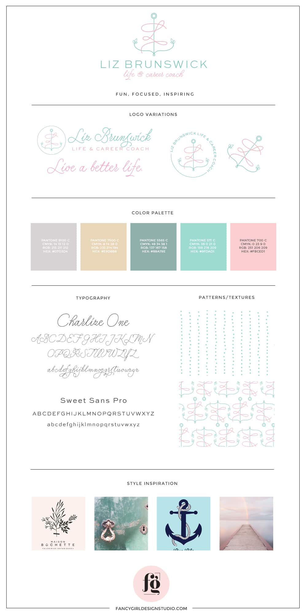 brand guide for Liz Brunswick Coaching by Fancy Girl Designs