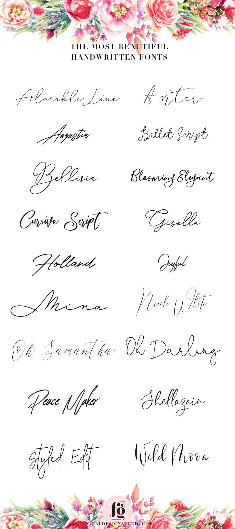 most beautiful handwritten fonts